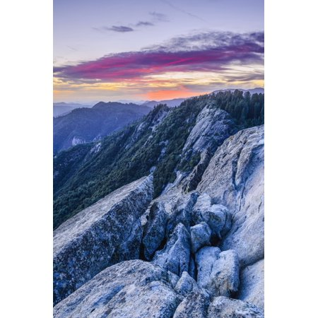 View from Moro Rock at dusk Sequoia National Park California United States of America Poster Print by Yves Marcoux  Design -