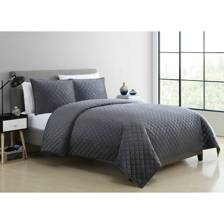 Mainstays Soft Plush Mink Velvet Grey Quilt Collection (Country Quilts King Size)