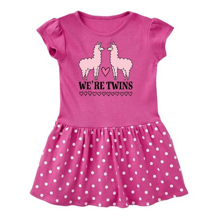 Twin Girls Pink Llama Toddler Dress
