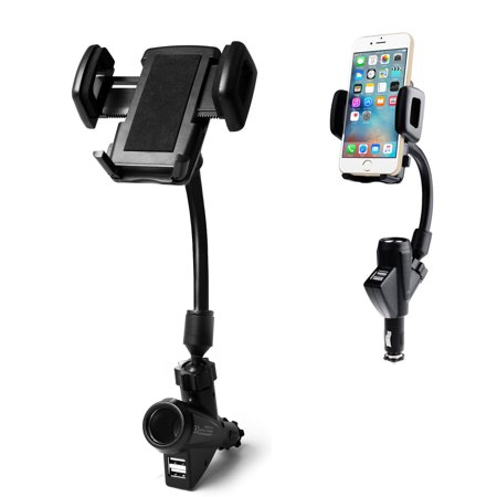 - 2-in-1 Cigarette Lighter Car Phone Holder Charger, Leagway Car Mount Cradle w/ Dual 2 USB 2.1A Charger for iPhone 8 X 7 6s 6 Plus 5s Samsung S10 S9 S8 S7 Note 6 5 4 3 and More Smartphones