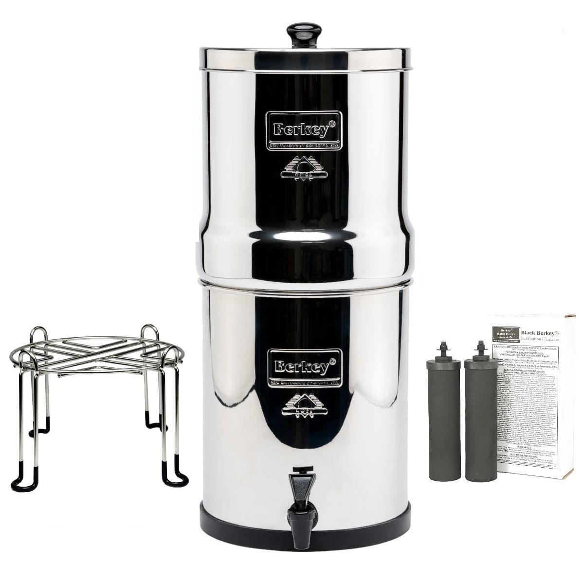 Imperial Berkey Water Purifier with 2 Black Filters and Wirestand Accessory