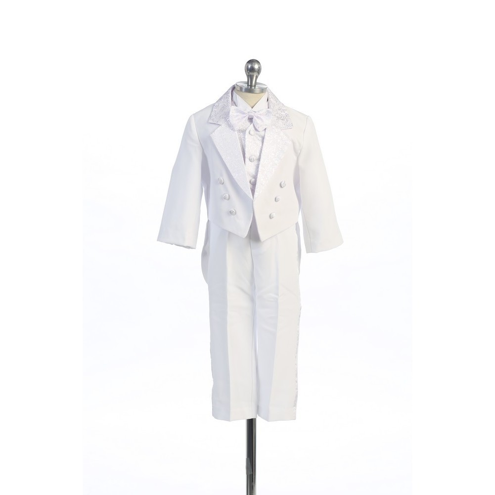 Angels Garment White 5 Piece Bow Vest Tuxedo Baptism Set ...