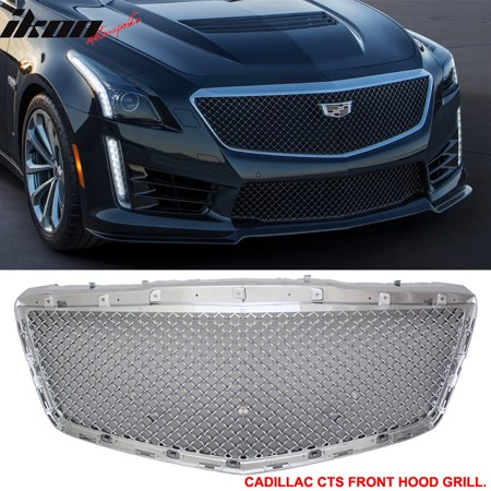 Fits 14-16 Cadillac CTS 4Dr B Style Chrome Front Bumper Hood Grille Grill - ABS