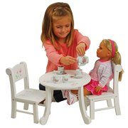 """CP Toys - Today's Girl Wooden Table and Chair Playset for 18"""" Dolls - White with Painted Floral Designs - Ages 8+"""