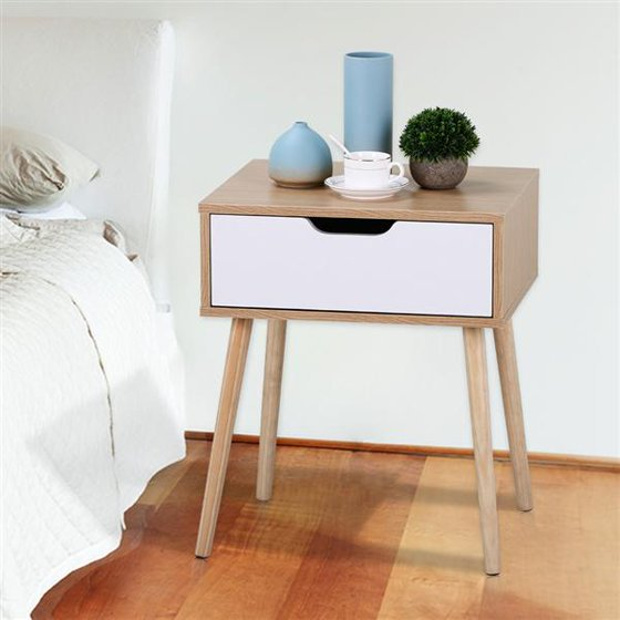 a8e460eaf72 Yaheetech White Brown Walnut Side End Table Nightstand with Storage Drawer  Solid Wood Legs Living Room Furniture - Walmart.com
