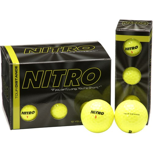 Nitro Tour Distance Golf Balls, Yellow, 24 Pack