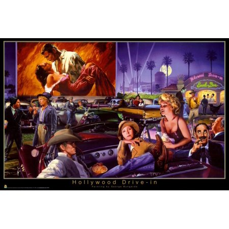 George Bungarda Hollywood Drive In Art Print Poster   24X36 Poster Print  36X24     By Generic Ship From Us