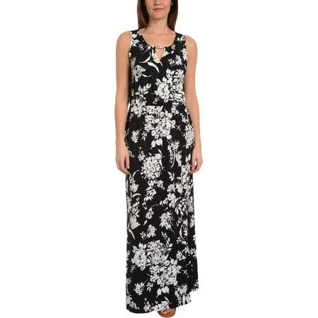 NY Collection Womens Keyhole Surplice Maxi Dress