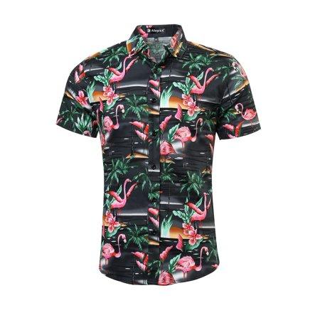 Men Floral Print Slim Fit Short Sleeve Button Down Beach Hawaiian Shirt XL (US 46) Dark Gray-flamingos,floral Print ()