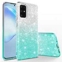Samsung Galaxy A51 Case, KAESAR Cute Fashinon Slim Luxury Shinning Sparkle Bling Classy Glitter Sparkle Girl Girly Women Protective Cover for Samsung Galaxy A51 (Silver / Teal)