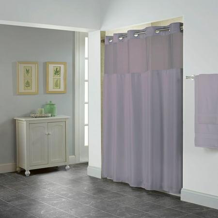 Hookless Purple Shiny Herringbone Polyester Shower Curtain