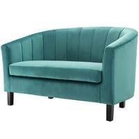 Modern Contemporary Urban Design Living Room Lounge Club Lobby Tufted Loveseat Sofa, Velvet Fabric, Aqua Blue