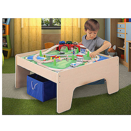 Wooden Activity Table With 45 Piece Train Set U0026 Storage Bin Only At Walmart