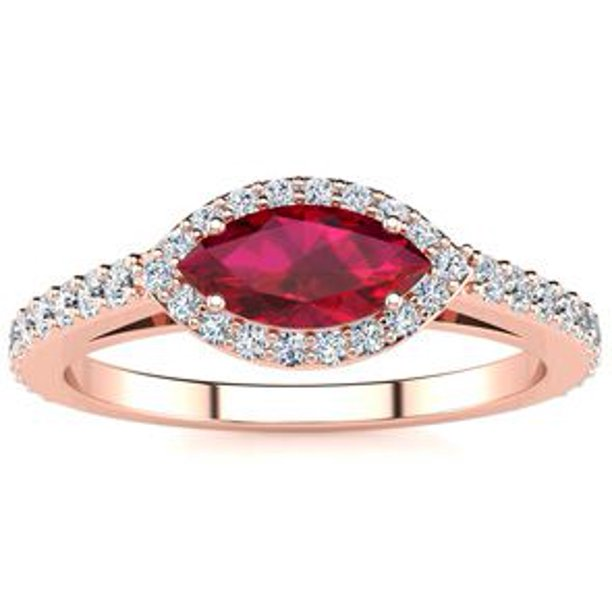 1 Carat Marquise Shape Ruby and Halo Diamond Ring In 14 Karat Rose Gold Size 9