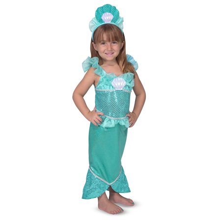 Melissa & Doug Mermaid Role Play Costume Set - Gown With Flared Tail, Seashell Tiara - Dead Mermaid Costume