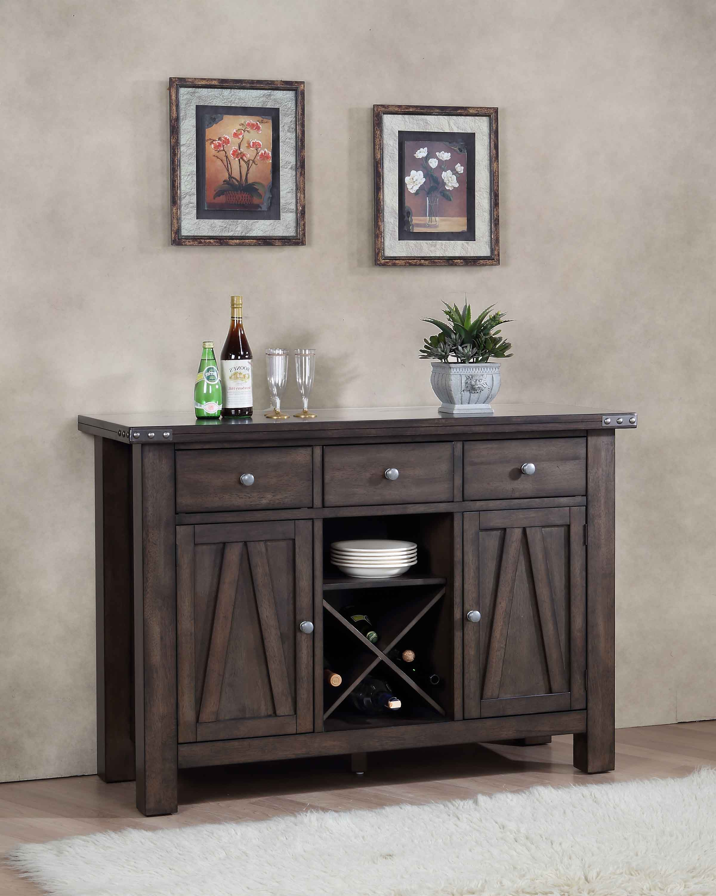 Brown Wood Wine Rack Sideboard Buffet Server Storage Cabinet With Drawers, Shelf & Doors by unknown