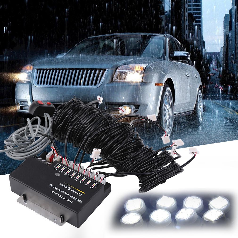 160W 8 LED Bulbs Emergency White Strobe Lights for Car, E...