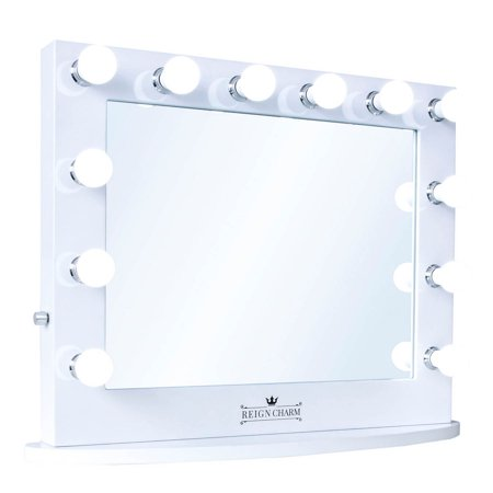 ReignCharm Cinema Series Hollywood Vanity Mirror, 12 LED Lights, Dual Outlets & USB, 32