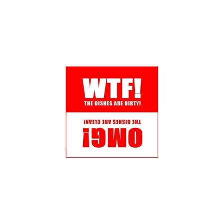 Dishwasher Magnet Clean Dirty Sign - 2.5 x 2.5 Inch Square Red Refrigerator Magnets -  WTF & OMG! Funny Housewarming Gifts by Flexible Magnets