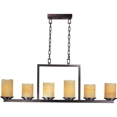Chandeliers 6 Light Bulb Fixture With Rustic Ebony Finish Steel Material Medium Bulbs 5 inch 360