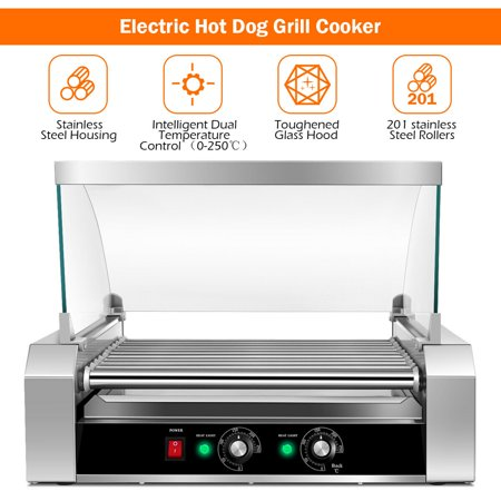 Costway Commercial 30 Hot Dog 11 Roller Grill Cooker
