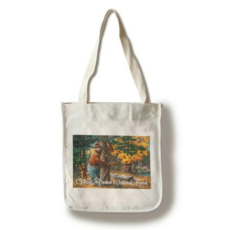 (Gifford Pinchot National Forest - Smokey Bear Hugging Tree - Lantern Press Artwork (100% Cotton Tote Bag - Reusable))