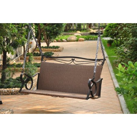 Valencia Resin Wicker with steel Frame Double Patio Swing Loveseat (Antique Brown) ()