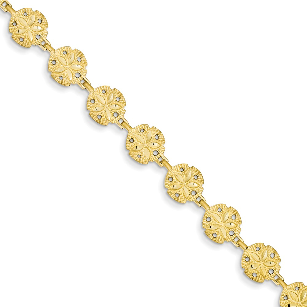 "14K Yellow Gold Sand Dollar Bracelet -7"" (7in x 8mm)"