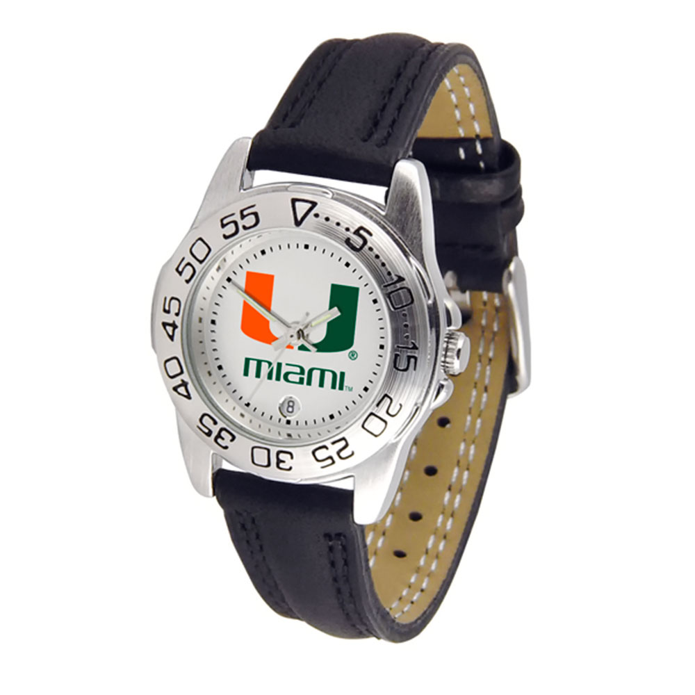 """Miami Hurricanes NCAA """"Sport"""" Ladies Watch (Leather Band)"""