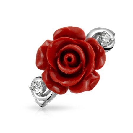 CZ Accent Flower Fashion Red Craved Rose Statement Ring For Women For Teen 925 Sterling Silver ()