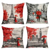 Wendana Throw Pillow Covers 18x18 Inches Black & Red Color Eiffel Tower & Big Ben Lovers Cushion Cover Burlap for Sofa, Living Room, Bedroom, Indoor or Outdoor Pillowcase, Set of 4