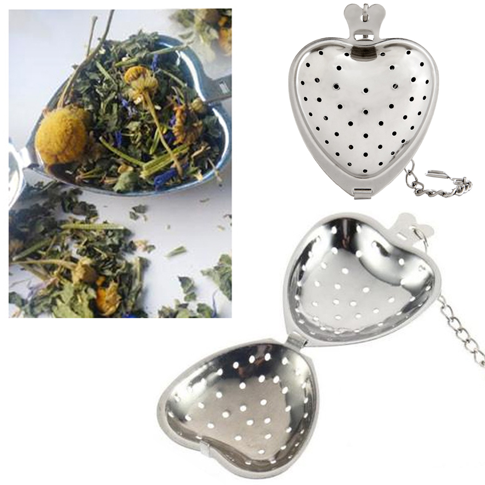 "2 Heart Shape Stainless Steel Tea Infuser Loose Leaf Herb 2"" Kettle Cup Strainer"