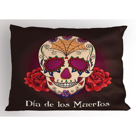 De Los Plum - Day Of The Dead Pillow Sham Dia de Los Muertos Quote Spanish Skull Dead Head Skeleton Vivid Print, Decorative Standard Size Printed Pillowcase, 26 X 20 Inches, Plum Red Cream, by Ambesonne