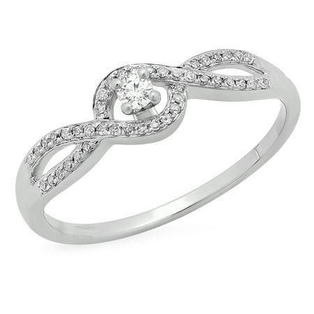 Dazzlingrock Collection 0.15 Carat (ctw) 10K Round Diamond Swirl Split Shank Bridal Engagement Ring, White Gold, Size 5.5