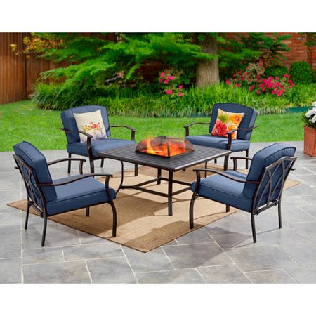 Mainstays Belden Park 5-Piece Fire Pit Set, Blue (Conversation Sets With Fire Pit)