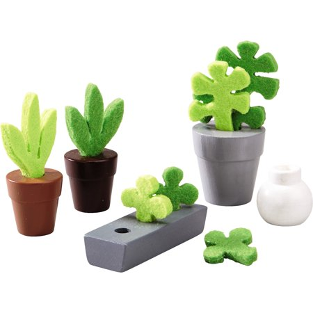 HABA Little Friends Flowers & Plants - 5 Piece Dollhouse Accessory Set for 4