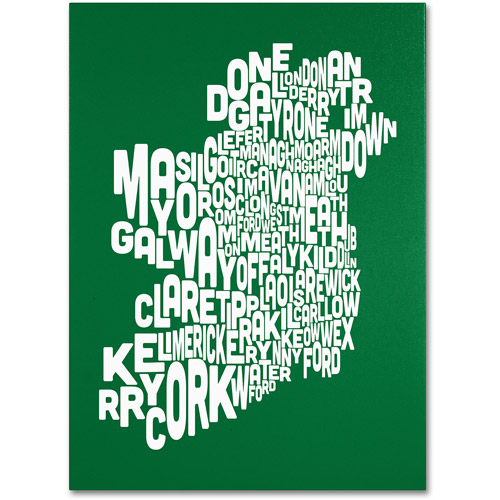 Trademark Art 'FOREST-Ireland Text Map' Canvas Art by Michael Tompsett