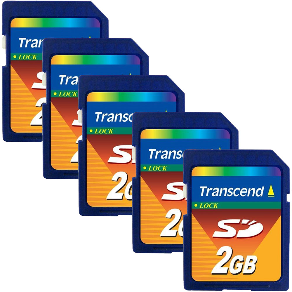 Transcend 2GB 2 GB SD Flash Memory Card- Pack of 5