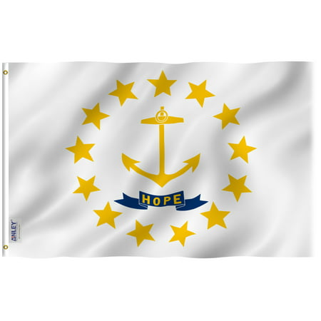 ANLEY Fly Breeze 3x5 Foot Rhode Island State Flag - Vivid Color and UV Fade Resistant - Canvas Header and Double Stitched - Rhode Island RI Flags Polyester with Brass Grommets 3 X 5 Ft