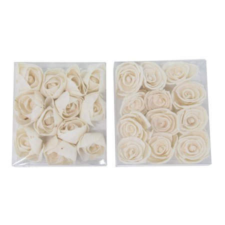 Decmode Boxed Natural White Carnation And Ranunculus Sola Flowers, White - Set of 2 ()