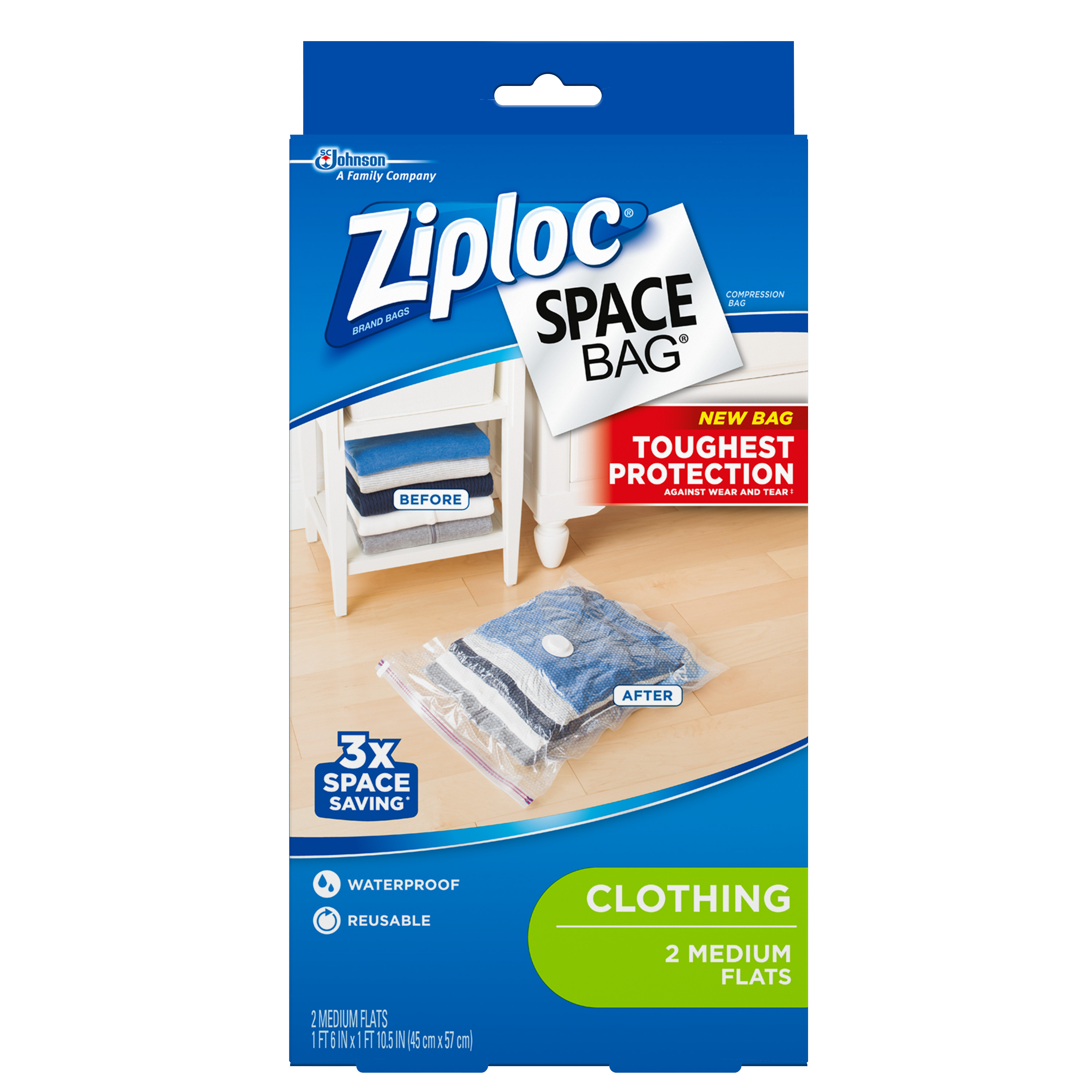 Ziploc Space Bag 2 count Medium Flat Bag