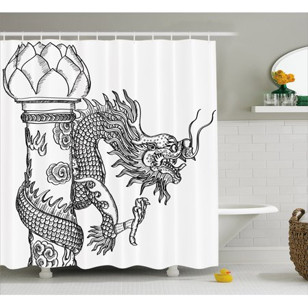 Dragon Shower Curtain Chinese Style Sacred Creature Statue Sketch Medieval Monster Fantasy Tattoo Image
