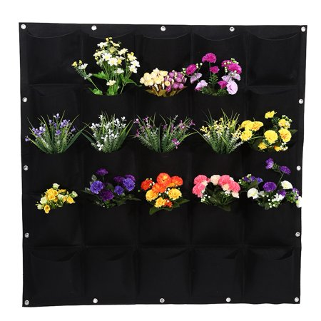 TOPINCN Green/Black 25 Pockets Outdoor Garden Vertical Planting Bag Wall Hanging Flower Plant Growing Bag Container