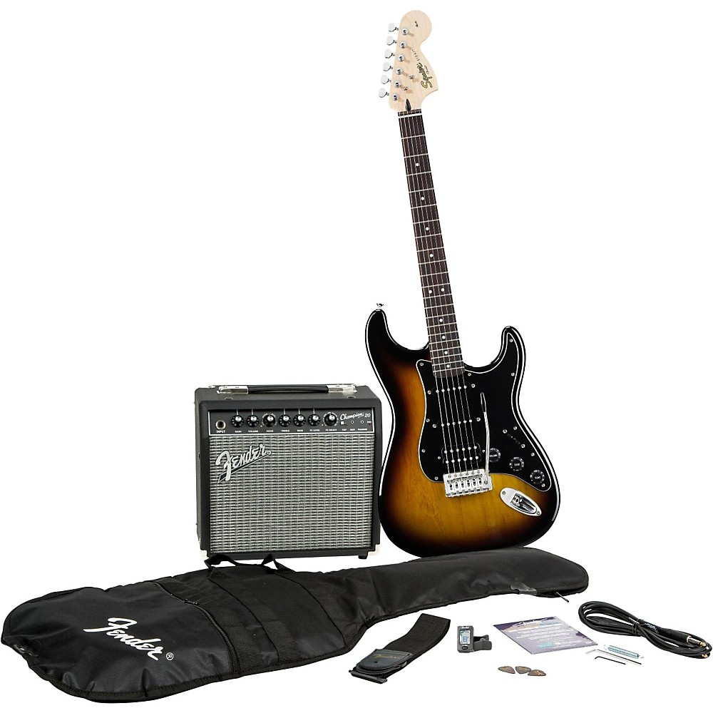 Squier Affinity Series Stratocaster HSS Electric Guitar Pack with Fender  Champion 20W Guitar Combo Amp Brown Sunburst