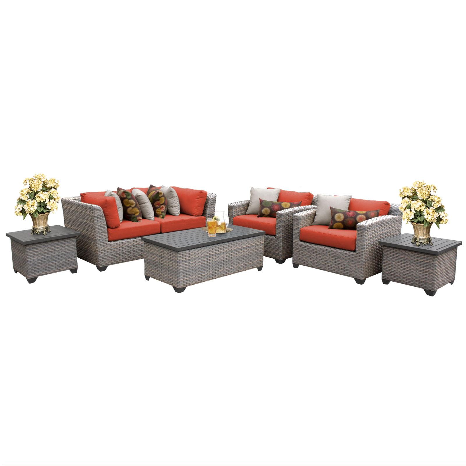 Catalina 7 Piece Outdoor Wicker Patio Furniture Set 07d