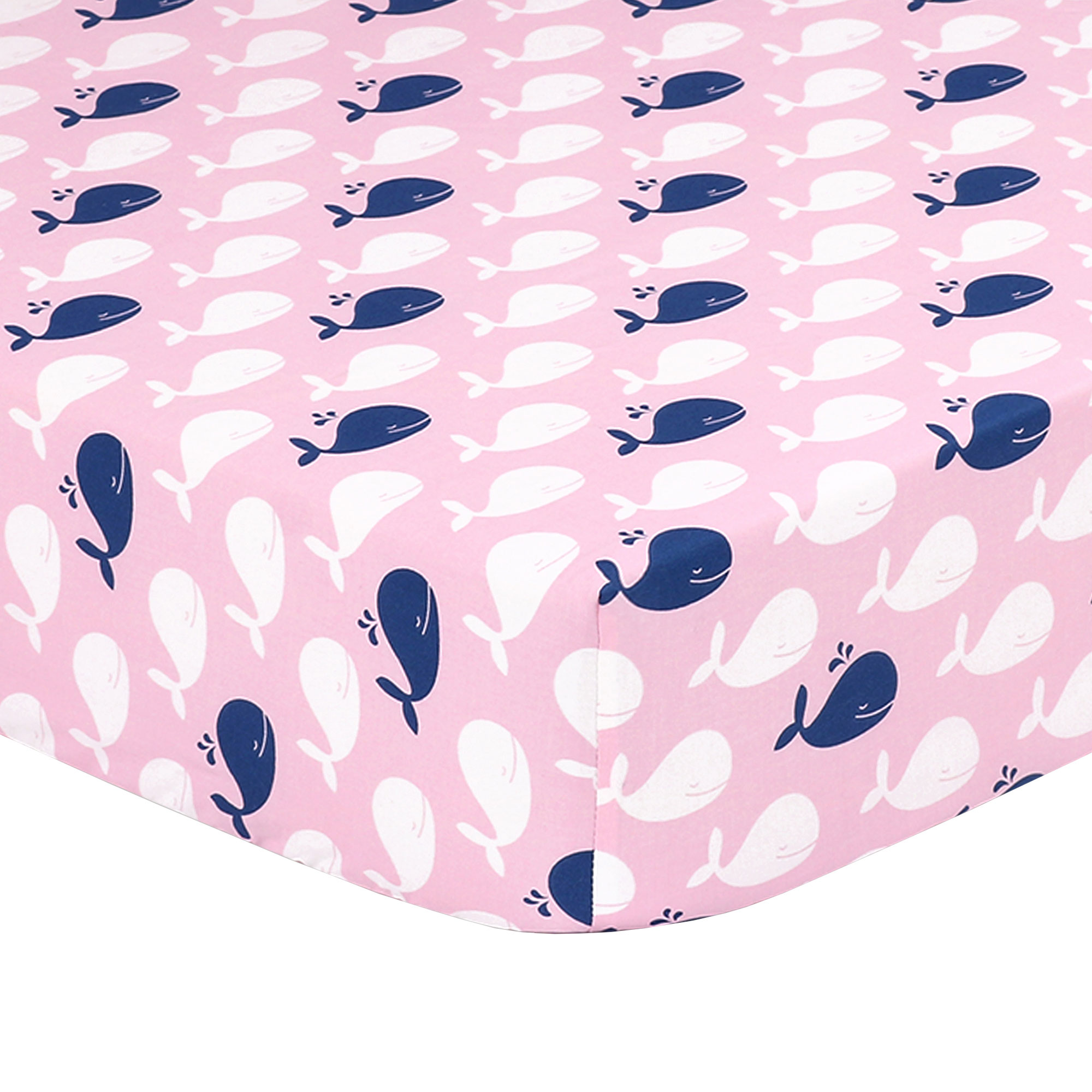 The Peanut Shell Baby Girl Fitted Crib Sheet - Navy Blue and White Whales on Pink - 100% Cotton Sateen, Fits Standard 52 by 28 Inch Mattress