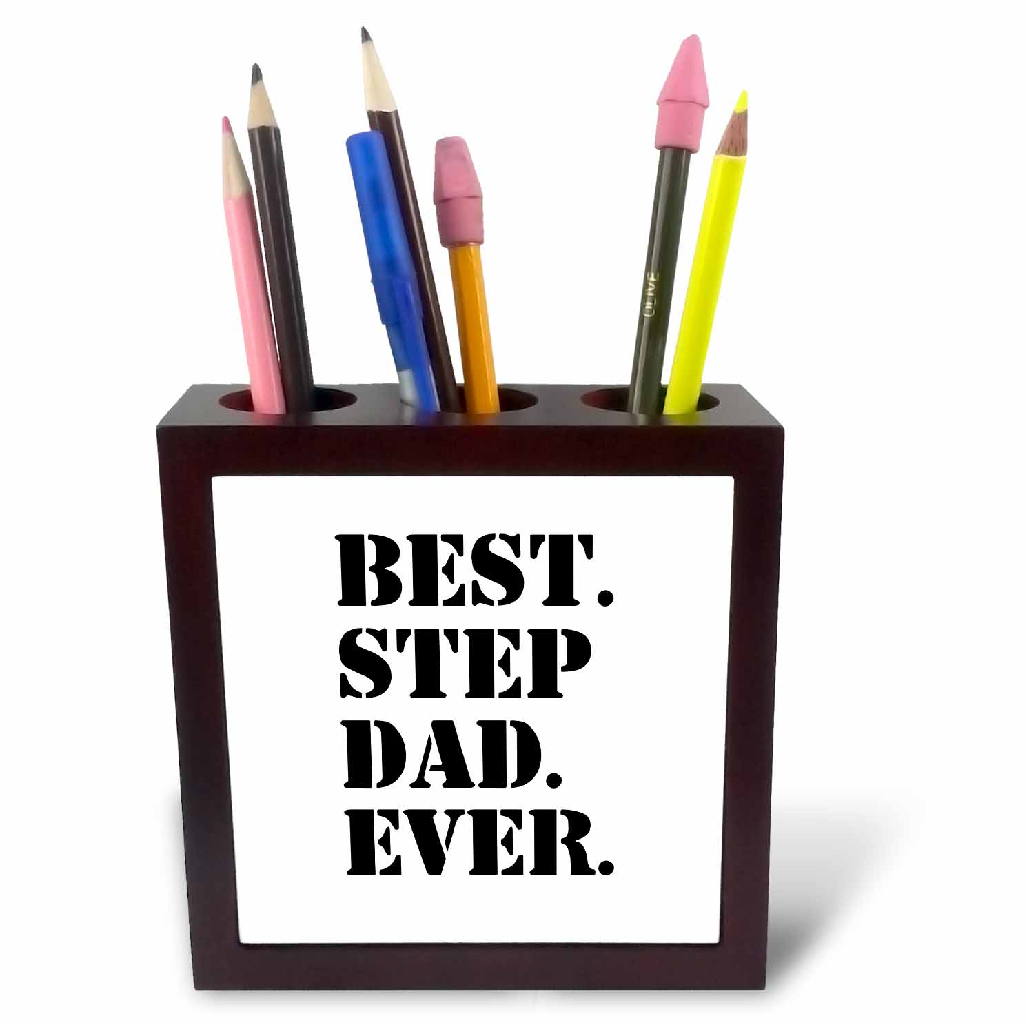 3dRose Best Step Dad Ever - Gifts for family and relatives - stepdad - stepfather - Good for Fathers day, Tile Pen Holder, 5-inch