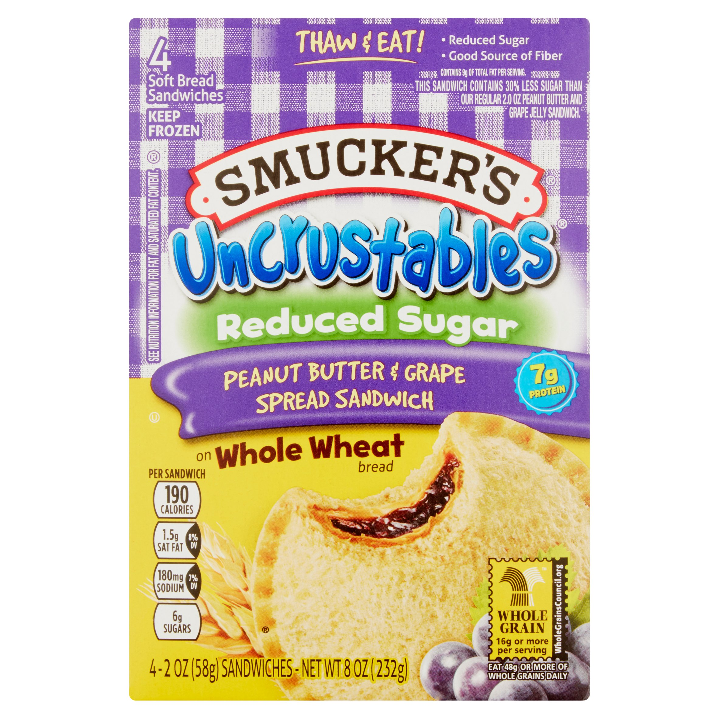 Smucker's Uncrustables Reduced Sugar Peanut Butter & Grape Spread Sandwich, 2 oz, 4 count