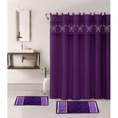 4PC PURPLE BUTTERFLY SPRING DESIGN BATHROOM SET 2 BATH MATH, 1PC SHOWER CURTAIN , 12 RINGS COVERED ANTI-SLIP RUBBER MAT BACKING - Butterfly Bathroom