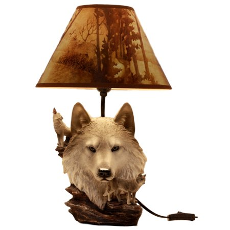 Home Furnishing Ceiling Lamp (Ebros Gift Full Moon Howling Gray Wolf Akela Desktop Table Lamp With Shade Home Furnishing 19